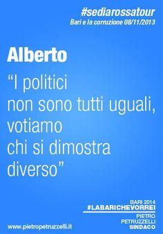 """Alberto: """"I politici non sono tutti uguali, votiamo chi si dimostra diverso."""" #labarichevorrei http://ht.ly/rYBqh"""