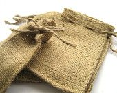 Mini Burlap Favor Bags with Drawstring Closure SET of 60. $47.00, via Etsy.