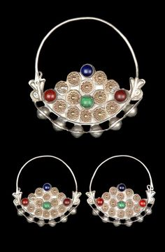 Iran - Golestan | Pair of woman's earrings ~ Gus vare ~ from the Turkmen people ; silver, embossed copper and glass.  // ©Quai Branly Museum. 71.1967.111.48.1-2