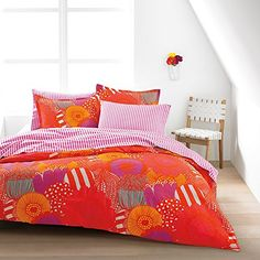 Infuse a bold and modern aesthetic into your bedroom with the Marimekko Siirtolapuutarha Duvet Cover Set. Decked out in bright, abstract florals, this ultra-soft bedding features a fun, striped reverse print, making it the perfect nighttime companion. Orange Duvet Covers, Orange Bedding, Red Bedding, Luxury Bedding, King Duvet Set, King Duvet Cover Sets, Queen Duvet, Duvet Sets, King Pillows