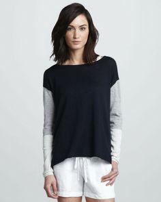 Vince Blue Tricolor Slub Sweater