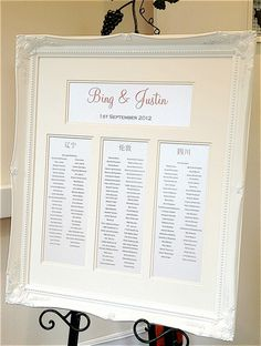 Luxury Framed Wedding Table Plans can be designed to fully coordinate with your wedding theme and colours
