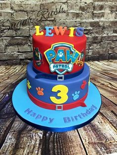 Paw patrol cake Plus Bolo Do Paw Patrol, Paw Patrol Torte, Rubble Paw Patrol Cake, Paw Patrol Birthday Cake, 3rd Birthday Cakes, Birthday Ideas, Novelty Cakes, Cakes For Boys, Party Cakes