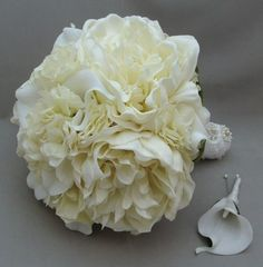 peonies wedding bouquet | Real Touch Peonies Calla Lily Hydrangea Bridal Bouquet Wedding Flowers ...