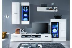 Glamour nappali összeállítás magasfényű fehér, 275x195x45 cm