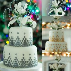A silver or gold Christmas cake