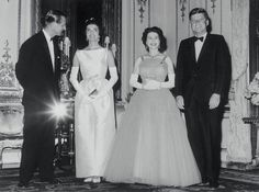 Buckingham Palace banquet given by Britain's Queen Elizabeth and Prince Phillip to honor JFK. Jacqueline Kennedy Onassis, Ted Kennedy, Rose Kennedy, Young John, Kennedy Assassination, Prince Phillip, Buckingham Palace, Queen Elizabeth Ii, British Royals
