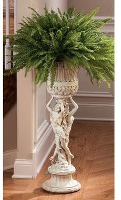 Design Toscano Les Filles Joyeuses Pedestal Column Plant Stand with Urn, 36 Inch, Polyresin, Antique Stone Outdoor Plants, Indoor Outdoor, Plants Indoor, Potted Plants, Homemade Chandelier, Balloon Crafts, Diy Plant Stand, Indoor Plant Stands, Diy Garden