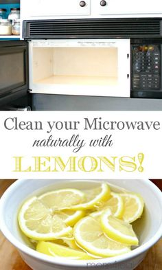 Clean Your Microwave the All Natural Way with Lemons-I was worried after other pinners talked about explosions with the 10 min/vinegar cleaning, so I did this, 2.5 min cooking, then 2.5 min cooking (so not a super long time), then 2.5 min sitting and it got most of the yuck out of my microwave. I did another two minutes and it was clean! Worked great! Then I used the hot lemon liquid to clean my kitchen sink!