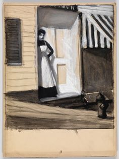 Study of a Woman Standing in a Doorway with Striped Awning, Edward Hopper, circa 1900 Manet, Edward Hopper Paintings, Toulouse, Most Famous Artists, Georges Braque, Statues, Whitney Museum, Building Art, Artist Art