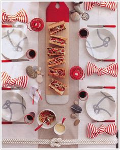 red, white and gray table details