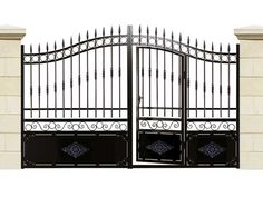 Gate Wall Design, House Gate Design, Bungalow House Design, Fence Design, Wrought Iron Gate Designs, Wrought Iron Stairs, Grill Gate, Front Porch Railings, Tor Design