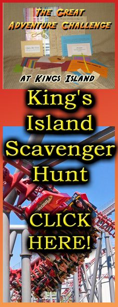 Plan a fun adventure scavenger hunt INSIDE King's Island in Mason, Ohio!  You'll get a package mailed to you – Just open it once inside the park and away you go!  How far will you get and what rank based on the points you've earned?  Don't forget about the BONUS envelopes to open along the way!
