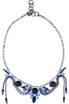 Hematite-plated Swarovski crystal necklace by Elizabeth Cole $157 Outnet