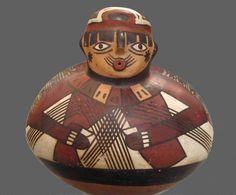 Nazca Fisherman Vessel  Nazca, South Coast Peru  Painted ceramic  300-500 AD
