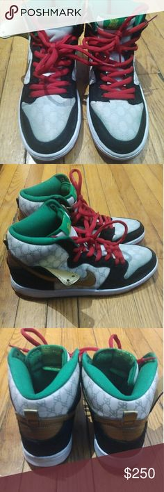 """Black Sheep x Nike SB Dunk High """"Gucci"""" Black Sheep x Nike SB Dunk High """"Gucci released in 2014. An OG Nike SB sneaker. Has a 8/10 condition. Front of shoes has a little blue on it. Thank you. Nike Shoes Sneakers"""