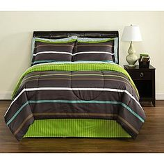 Essential Home- -Complete Bed Set Bright Stripes