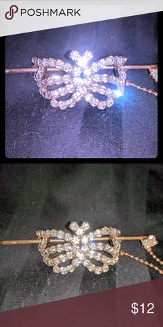 "Rhinestone Hair Accessory Butterfly gold rhinestone encrusted hair stick pin, approximately 3"" long, adornment or ponytail holder Beautiful!! Accessories Hair Accessories"