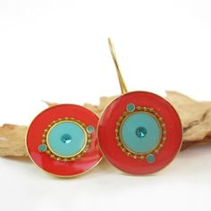 Decorated Round Red and Turquoise color -Gold dangle Earrings
