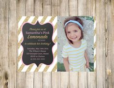 Lemonade photo birthday invitation with gold, glitter, chalkboard and pink! What more could a girl want?!