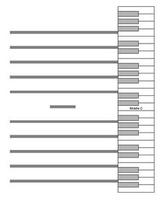 Keyboard - Staff diagram for teaching the relationship of the staff to the piano keys. Print on card stock and laminate, or print on regular paper for students to keep inside their piano binders.