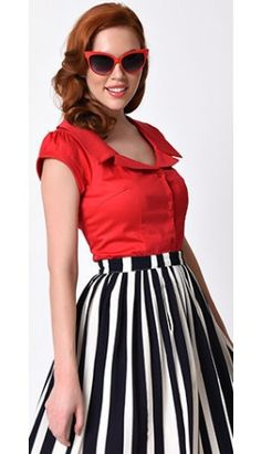 Voodoo Vixen 1950s Cherry Red Cap Sleeve Julie Stretch Top---I already have this skirt