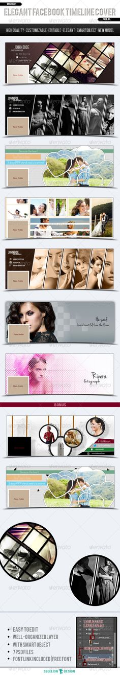 Fb Timeline Cover Pack #1 #GraphicRiver Facebook is a famous social network..And we have choice to choose our theme.You can put just an image.But now many people use timeline cover for their theme.So ,don't be late Use your timeline cover ~~ ! Items Description Facebook Timeline Cover Pack #1 – you can update your image easily with smart object .. They're many timeline you can choose. Files Information RGB 300 DPI With Smart Object All of text Editable Customizable Files included…