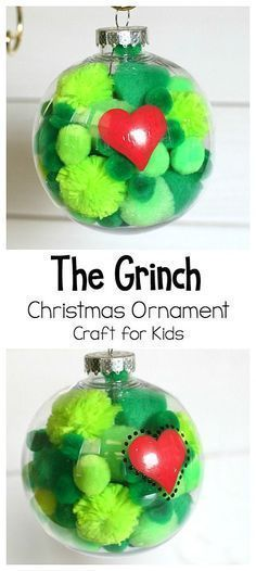 Absolutely adorable Grinch homemade Christmas ornament craft!