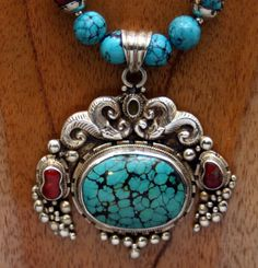 Vintage Adil Qazi Turquoise and Coral