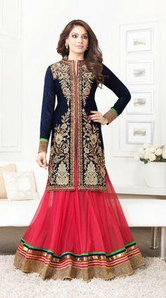 Bipasha Basu In Pink And Dark Blue Salwar Kameez BR100138