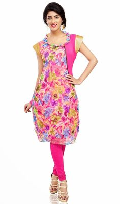 Trendy beige, bluish purple and pink georgette tunic adds charm and grace to your beauty. Tunic is embellished with floral digital print, metal zip, decorative pleated neckline with golden short sleeves. #ClassicalTunic