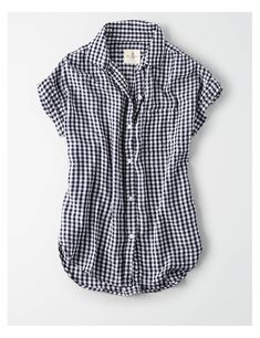 03d747619 AE Short Sleeve Button Up Shirt, Navy | American Eagle Outfitters Button Up Shirt  Womens