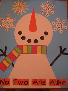 No Two Are Alike: snowman looking at diverse snowflakes...great for talking about individual differences