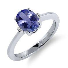 1.19 Ct Oval Blue Tanzanite White Diamond 925 Sterling Silver Ring