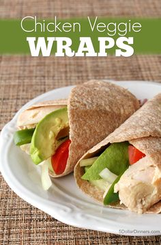 Simple, fresh, and delicious, these crunchy Chicken Veggie Wraps will be your go-to lunchtime power play. | 5DollarDinners.com