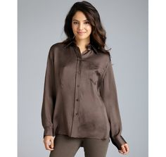 Hermès Pewter Textured Silk Long Sleeve Button Front Blouse in Brown (pewter) | Lyst