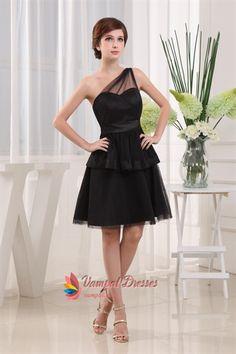 Short One Shoulder Little Black Dress, Black Tiered Cocktail Dress