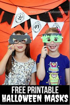 Free Printable Halloween Masks by the Crafty Cupboard- Easy Halloween Photo Props! #Halloween #printable