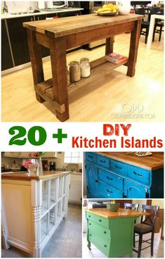 DIY Kitchen Island Ideas and Inspiration DIY Kitchen Islands. These kitchen island DIY projects are great inspiration to draw from. Build your own DIY kitchen island easily when you use these tips, tricks and ideas! Diy Table, Diy Stool, Homemade Kitchen Island, Diy Kitchen Cart, Kitchen Island Bar, Diy Kitchen, Diy Kitchen Island, Kitchen Island Cart, Kitchen Island Lighting