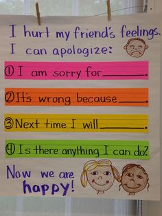 Demonstrate appropriate social and classroom behavior. This would show to the students the classroom way to apologize. Behaviour Management, Classroom Management, Class Management, Preschool Behavior Management, Relation D Aide, Responsive Classroom, Bulletins, Classroom Behavior, Classroom Decor