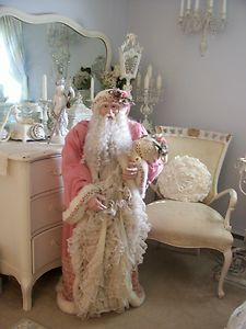 If money wasn't an issue, this guy would be standing in my house.  So gorgeous. SHABBY CHRISTMAS VICTORIAN CHIC LIFE SIZE 4FT. SANTA CLAUS | eBay