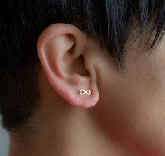 Solid Gold Minimal Earrings Tiny Infinity Earrings Gold Karma Earrings 14k solid…