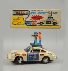 Way cool vintage 'World News' News Service Car with 'High-Technical Action!!' TPS, Japan