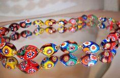 Vintage Italian Millefiori Murano Glass Bead Necklace Large Oval Beads