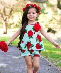 9c0410562df2c Mia Belle Baby Mint & Red Floral Alice Swing Top & Shorts - Girls. Toddler  OutfitsToddler ...