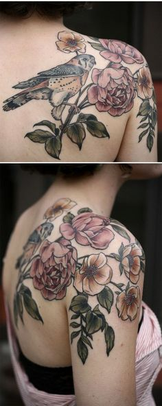 Image result for faded vintage floral tattoo with pop of color