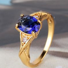Victorian Style!!24k yellow gold filled lady Oval sapphire ring Sz5-Sz9 #ThreeStone