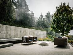 Patio - Cliff hugging modern residence, Big Sur, California — Fougeron Architecture FAIA Architects & Designers