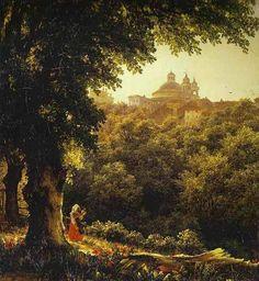 "Mikhail Lebedev - ""Ariccia, vicino Roma"" (1836) (Olio su tela - Russian Museum St. Petersburg)."