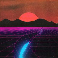 vaporwave paisagem All Synthwave retro - vaporwave New Retro Wave, Retro Waves, Retro Kunst, Retro Art, 80s Design, Graphic Design, Neon Design, Neon Noir, 80s Aesthetic
